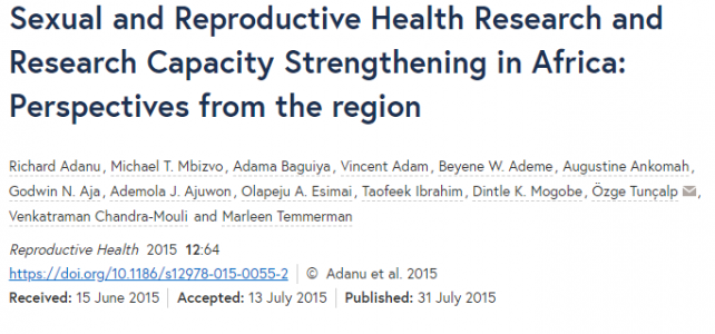 Sexual and reproductive health research and research capacity strengthening in Africa: perspectives from the region