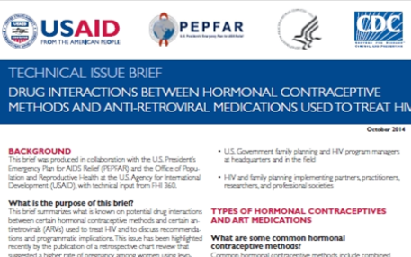 Brief Drug Interactions between Hormonal Contraception Methods and Anti-retroviral Medications Used to Treat HIV