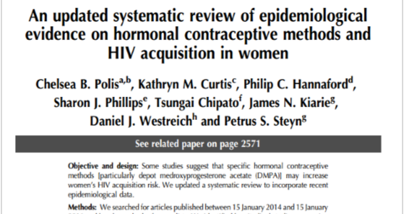 An updated systematic review of epidemiological evidence on hormonal contraceptive methods and HIV acquisition in women