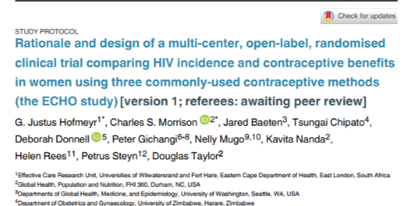 Rationale and design of a multi-center, open-label, randomised clinical trial comparing HIV incidence and contraceptive benefits in women using three commonly-used contraceptive methods (the ECHO study)